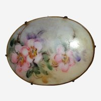 Victorian Hand Painted Porcelain Brooch with Cherry or Apple Blossoms