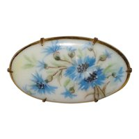 Victorian Hand Painted Porcelain Brooch with Blue Cornflowers