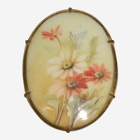 Victorian Hand Painted Porcelain Brooch with Daisies