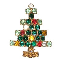 Multicolored Rhinestone Christmas Tree Pin - Book Piece