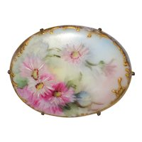 Victorian Hand Painted Porcelain Brooch with Pink Asters