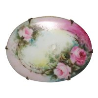 Victorian Hand Painted Porcelain Brooch with Pink Roses
