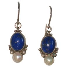 Sterling Lapis Lazuli Earrings with Cultured Pearls