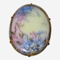 Victorian Hand Painted Porcelain Brooch with Wisteria