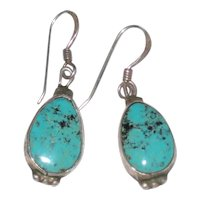 Gene and Martha Jackson Signed Navajo Turquoise and Sterling Silver Earrings