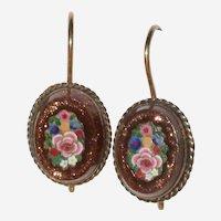 Victorian 12K Micro-mosaic and Goldstone Earrings