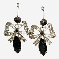 Art Deco Bow Earrings with Faceted Black Glass