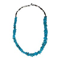 Turquoise Nugget Necklace with Hand Made Sterling Silver Beads