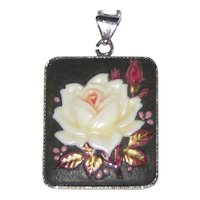 Toshikane Japan Porcelain Rose Pendant Necklace with Sterling Setting and Chain