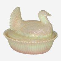 Boyd Glass Turkey Covered Figural Animal Candy Dish