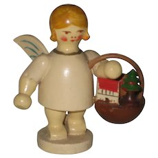 Vintage 1960's Erzgebirge Wooden Angel - Basket with Apples and Toys