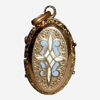 Victorian Gold Filled Locket with Floral Engraving and Blue and White Enamel