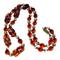"24"" Murano, Italy Glass Necklace with Wedding Cake Beads"