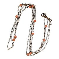 D & C Victorian Fob or Lorgnette Chain Necklace with Coral Beads