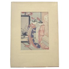 Suzuki Harunobu Woodblock Print - Circa 1910 - Ladies Reading Letter