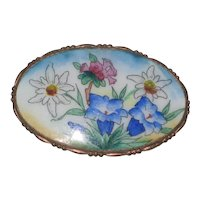 Alpine Wildflowers Enameled Souvenir Pin - Edelweiss, Blue Gentian and Alpine Rose