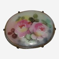 Victorian Hand Painted Porcelain Brooch with Two Pink Roses