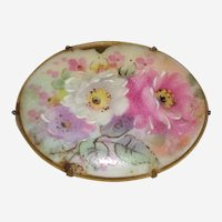 Victorian Hand Painted Porcelain Brooch with a Trio of Roses