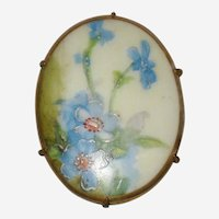 Victorian Hand Painted Porcelain Brooch with Blue Forget-me-Nots