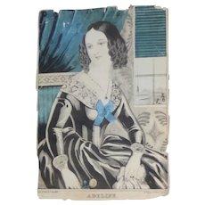 """James Baillie Lithograph """"Adeline"""" Circa 1845"""