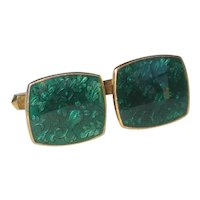 Green Basse-Taille Enameled Cufflinks with a Floral Pattern