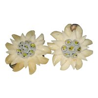 1930's Carved Celluloid Edelweiss Clip Earrings