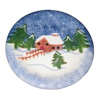 """Holly Mountain Lodge 11"""" Stoneware Holiday Dinner Plate or Platter"""