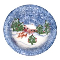 "Holly Mountain Lodge 8 1/2"" Stoneware Holiday Serving or Cereal Bowl"