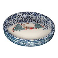 """Set of Four Tienshan """"Cabin in the Snow"""" 10 1/2"""" Stoneware Dinner Plates"""