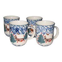 "Set of Four Tienshan ""Cabin in the Snow""  4"" Stoneware Mugs"