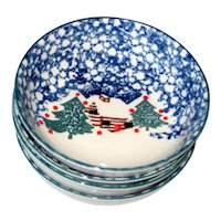 "Set of Four Tienshan ""Cabin in the Snow""  6 1/2"" x 2"" Bowls"