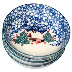 """Set of Four Tienshan """"Cabin in the Snow""""  6 1/2"""" x 2"""" Bowls"""