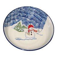 "Thompson Pottery Snowman 9 1/8"" Serving Bowl"