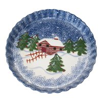 """Holly Mountain Lodge 11"""" Stoneware Holiday Quiche Dish"""