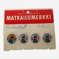 Four 1960's Sweden Lapland Souvenir Buttons or Lapel Pins