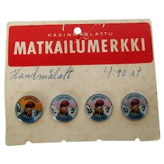 Four 1960's Sweden Lapland Souvenir Buttons or Lapel Pins