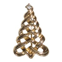1985 Avon Christmas Tree Pin - Woven Ribbon with Austrian Crystal Star