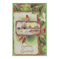 Embossed Christmas Postcard with Birds and Holly - 1910