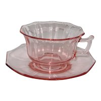 Depression Pink Cambridge Glass Decagon Cup and Saucer