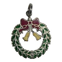 JMF Sterling Silver Enameled Christmas Wreath Charm