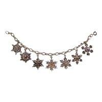 Vintage Gorham Sterling Silver 1970-1976 Snowflake Christmas Charm Bracelet