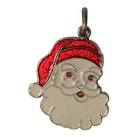 Spencer Sterling Red and White Enameled Santa Claus Christmas Charm