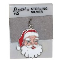 Beau Sterling Silver Enameled Santa Claus Charm on Original Card