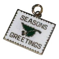 "Wells Sterling Silver Enameled ""Seasons Greetings"" Christmas Card Charm"
