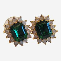 Vintage Signed Roman Green Faceted Glass Earrings
