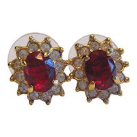 Vintage Signed Roman Red Faceted Glass Earrings