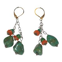 Turquoise Nugget and Carnelian Earrings