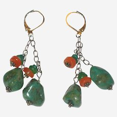 Turquoise Nugget and Carnelian Earrings