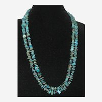Double Strand Turquoise Nugget Necklace with Heishi Beads