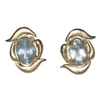 Petite 14K Gold Filled Aquamarine Earrings - Posts